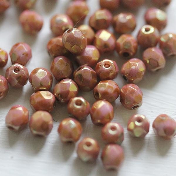 Matt Metallic Flax Firepolished Bead