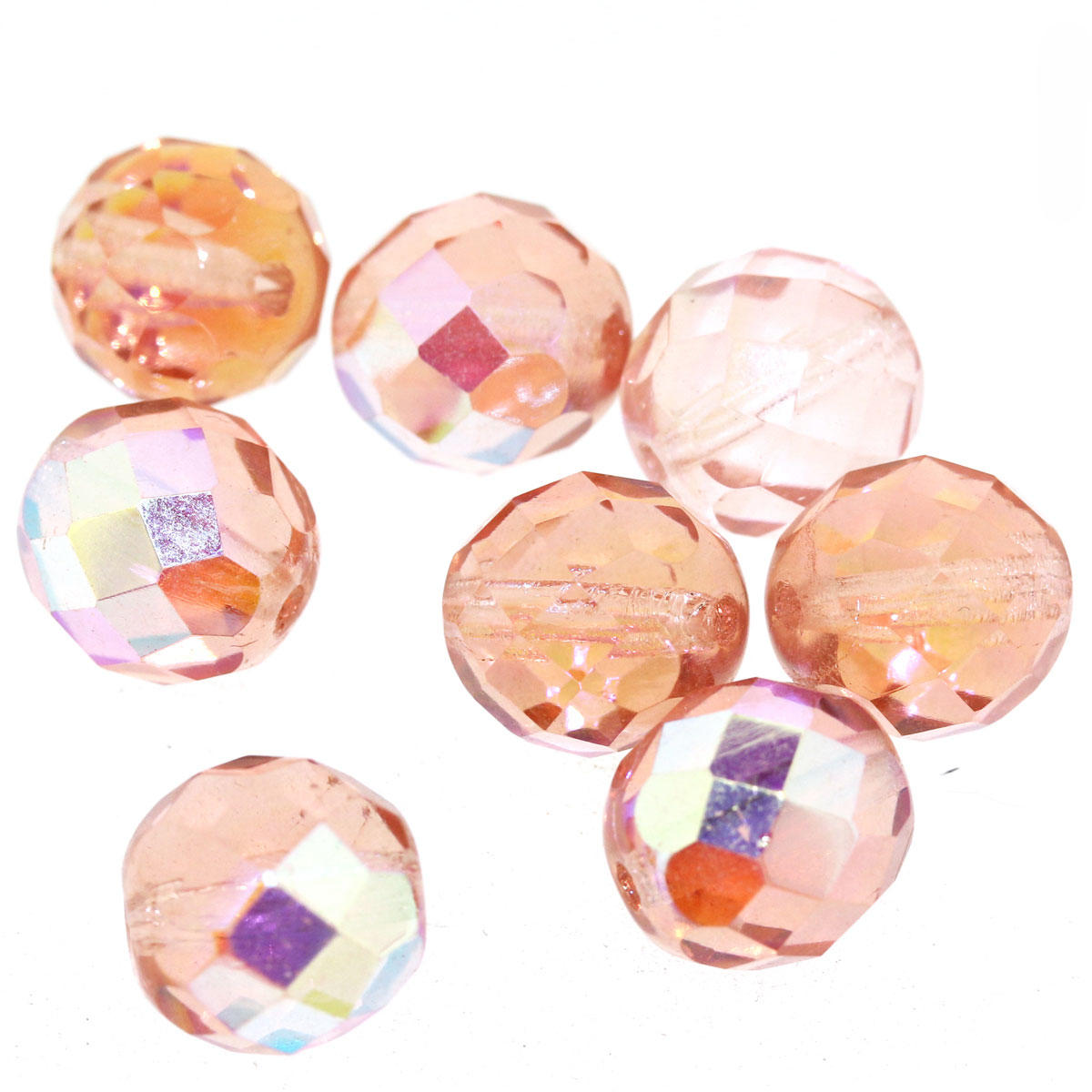 Rose Pink AB Faceted Glass Bead