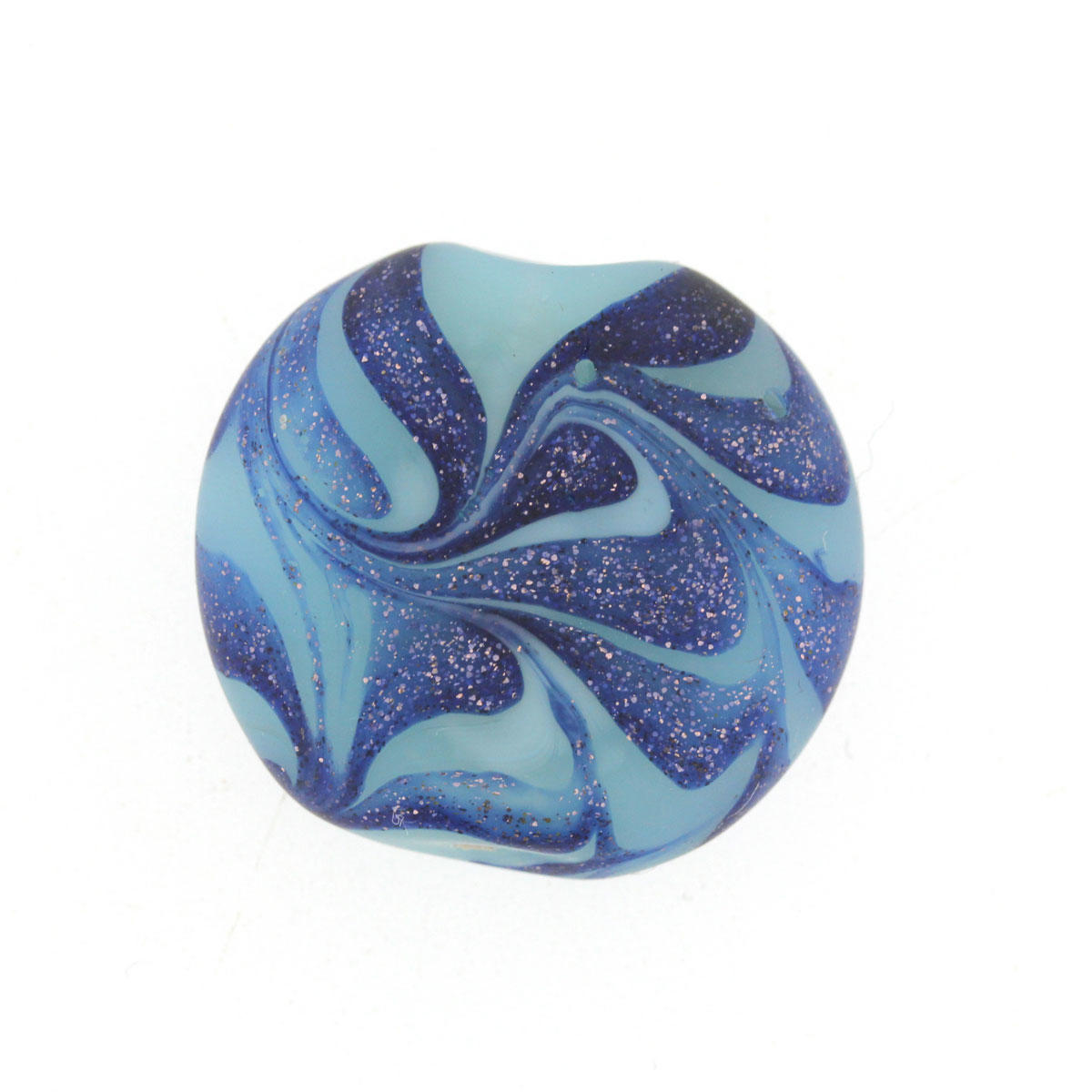 Sea Blue Wave Coin Glass Bead