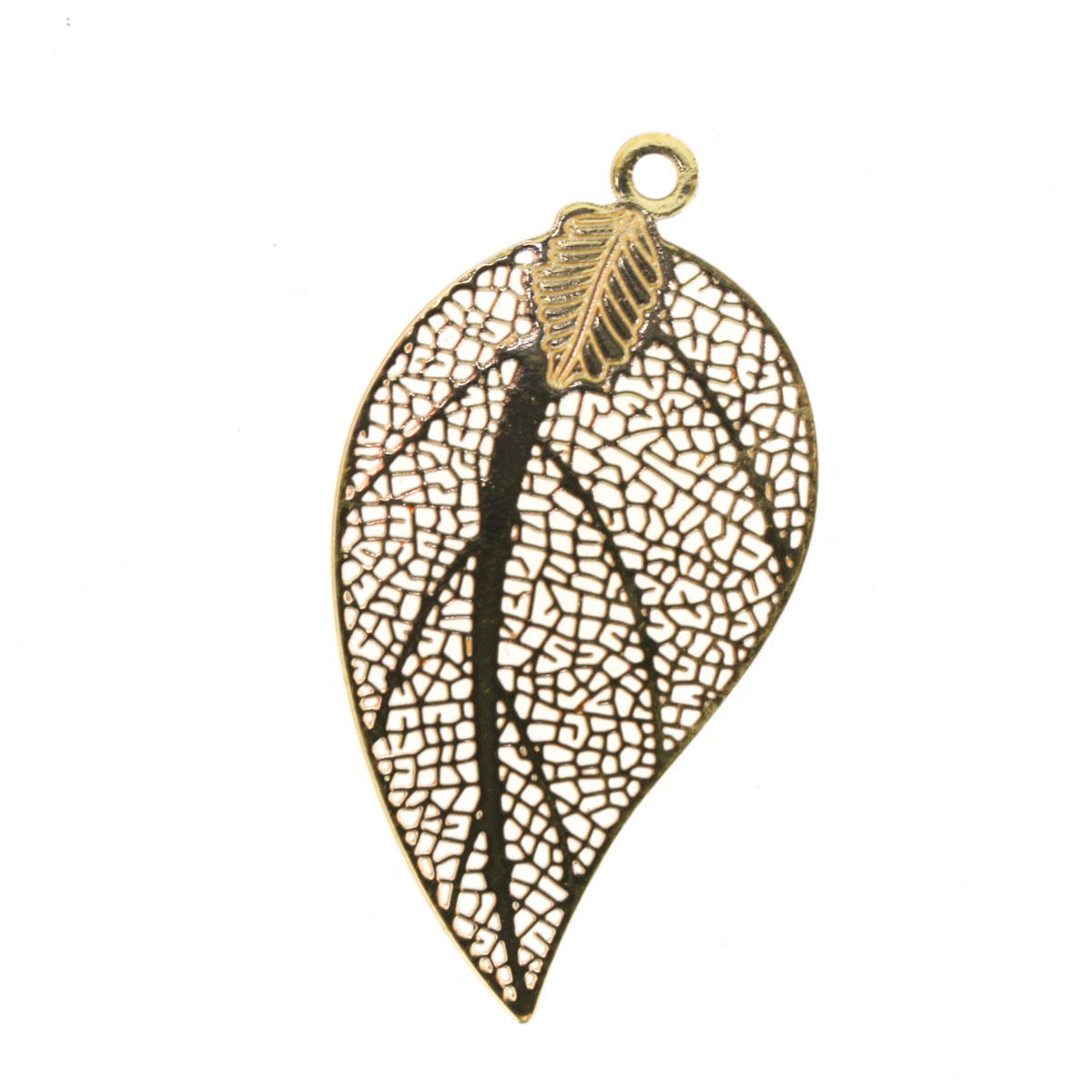Gold Filigree Leaf Charm
