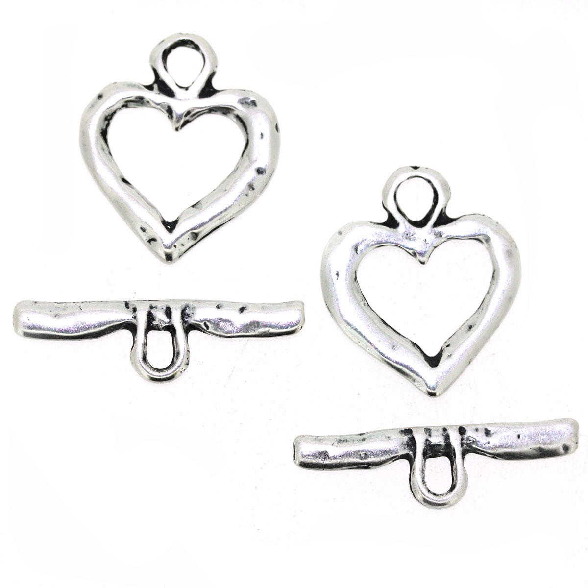 Antique Silver Heart Toggle Jewellery Component 2