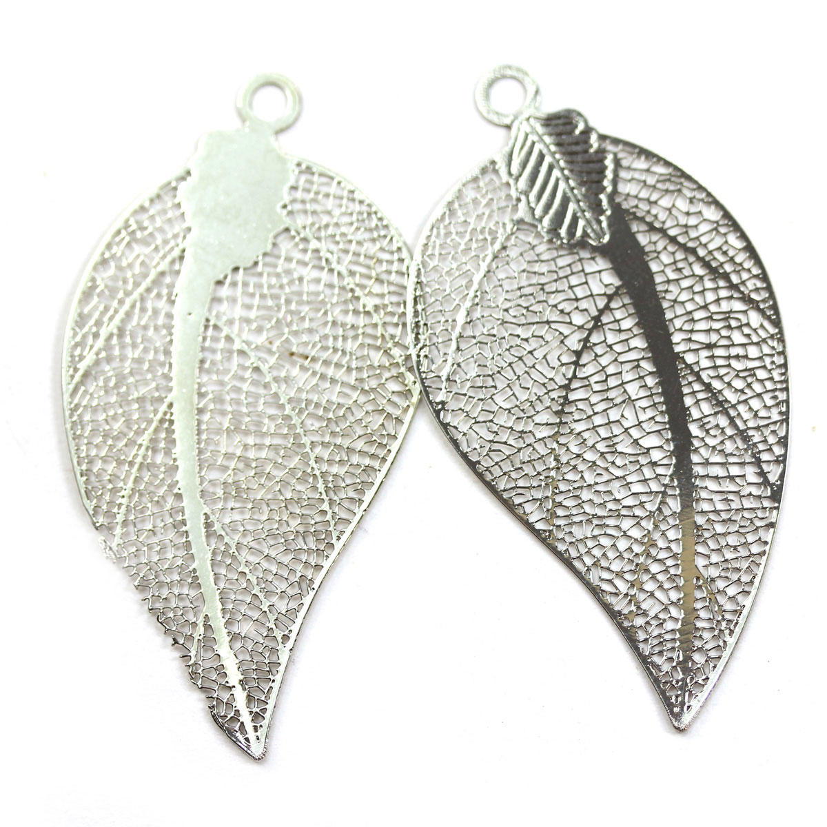 Silver Large Filigree Leaf Charm