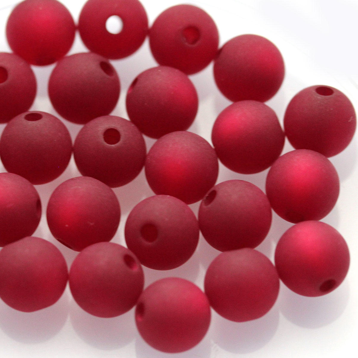 Cranberry 12mm Round Polaris Bead