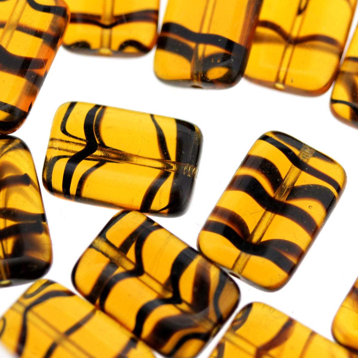 Amber Tiger Glass Bead
