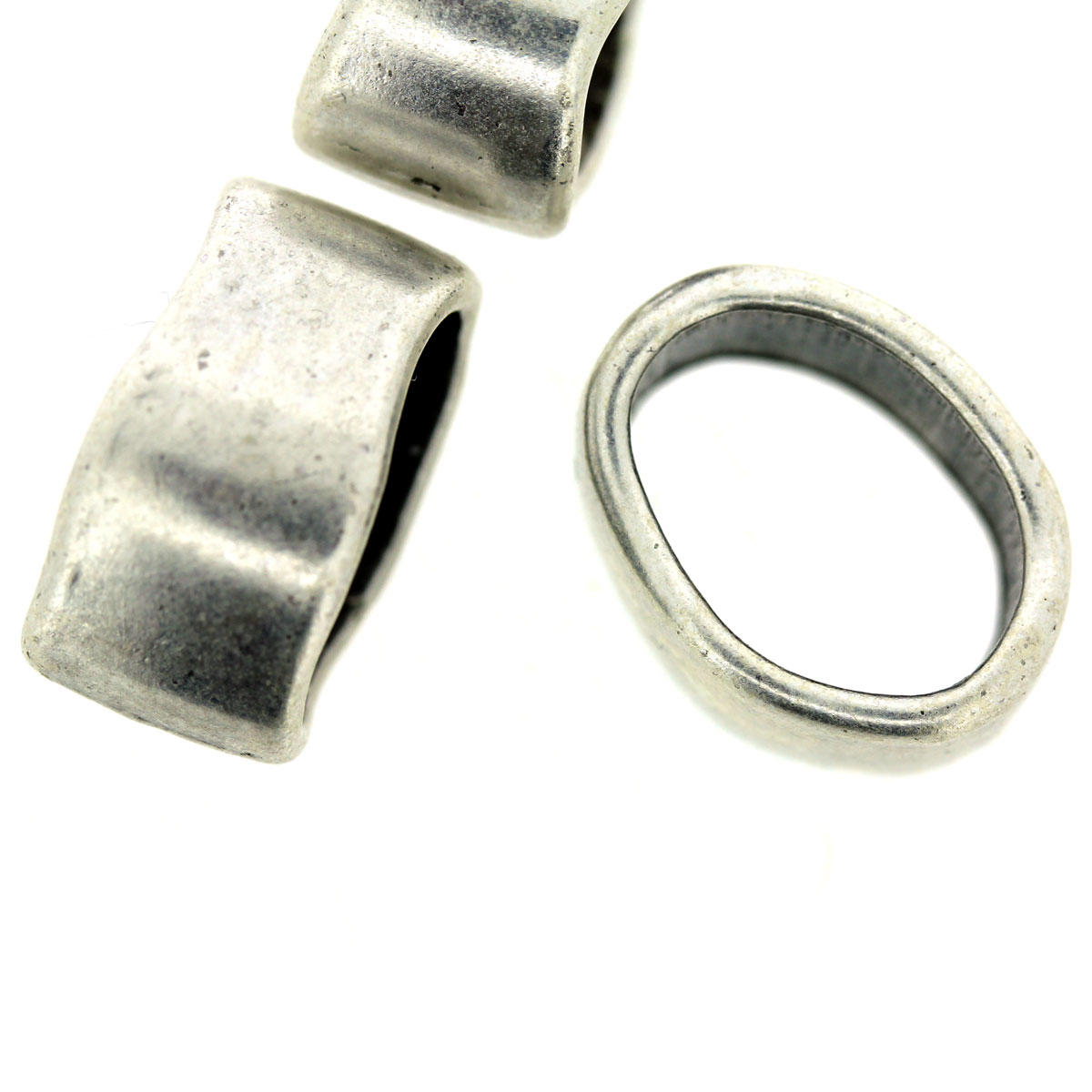 Irregular Silver Ring For Square Leather