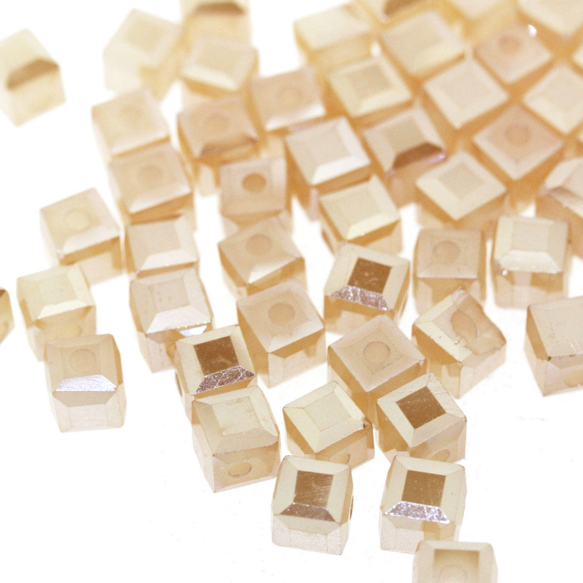 Apricot 6mm Faceted Electroplated Glass Bead