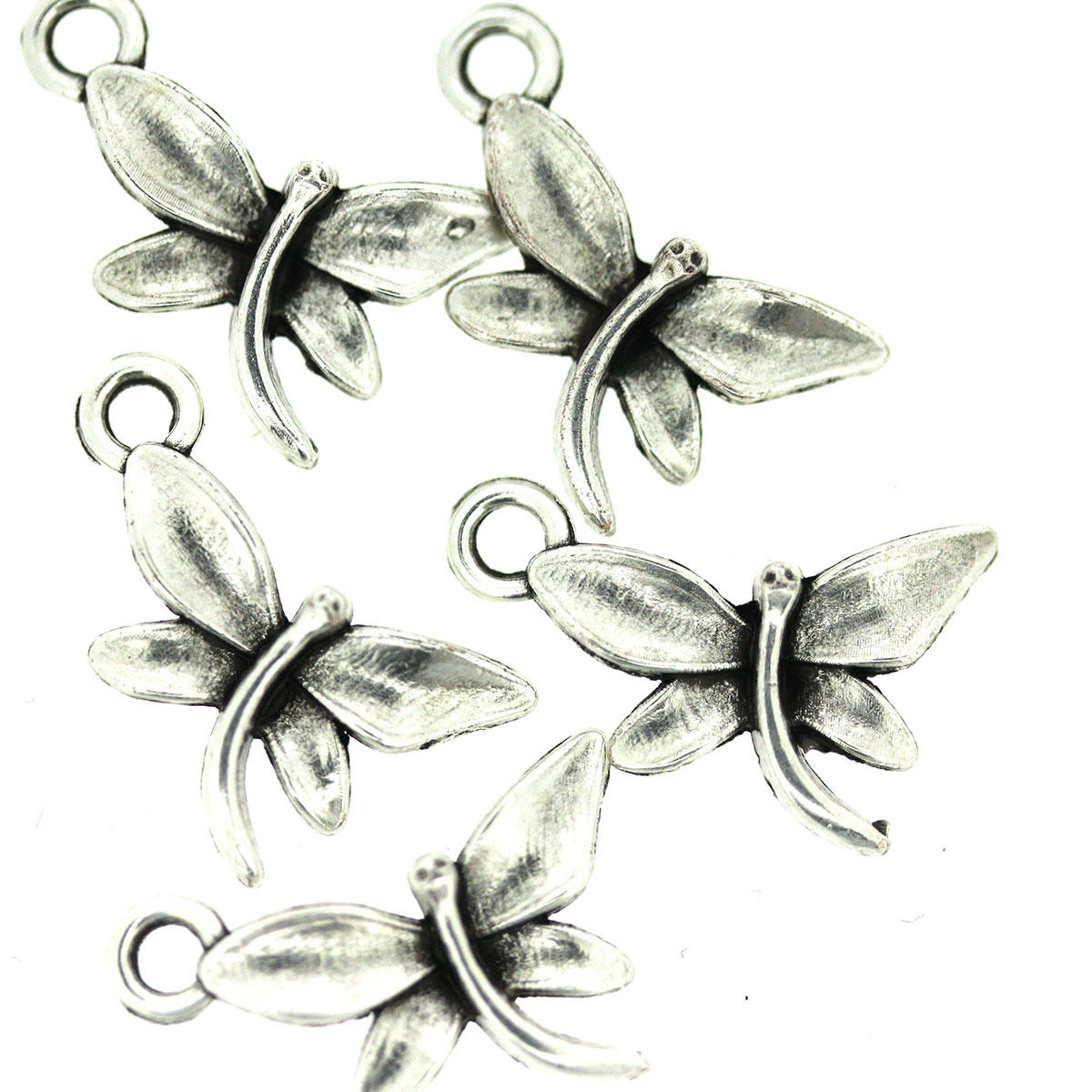 Antique Silver Dainty Dragonfly Charm