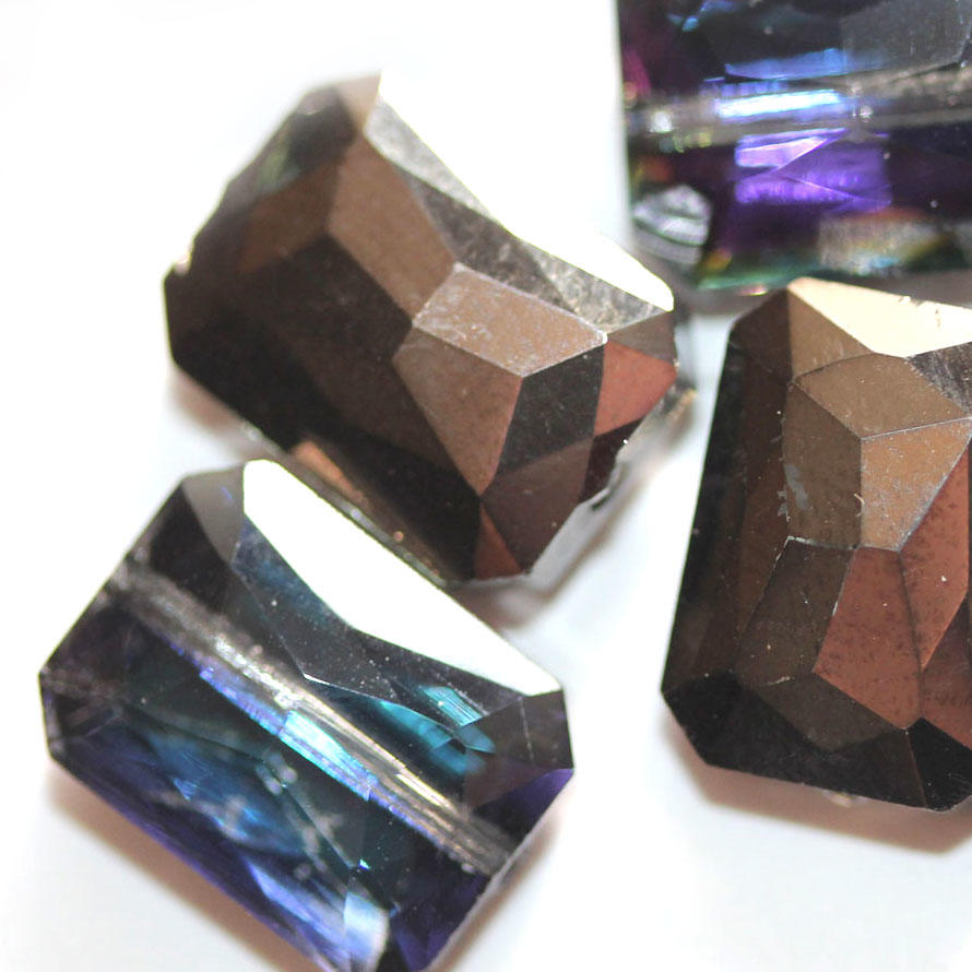Black/Purple AB Faceted Glass Oblong