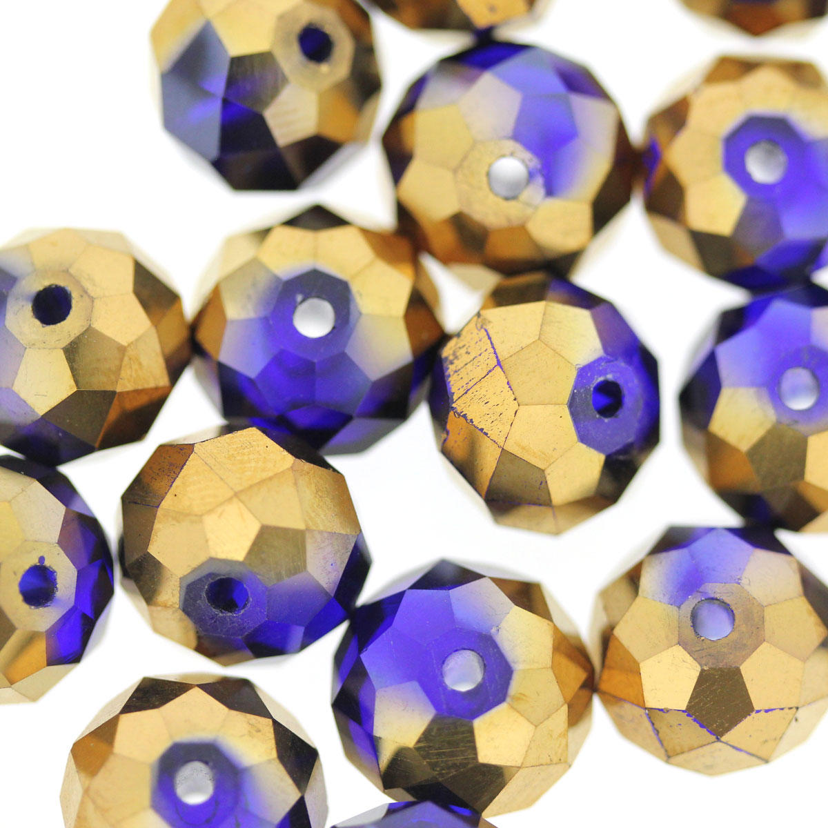 Cobalt and Bronze Large Glass Cushion Beads
