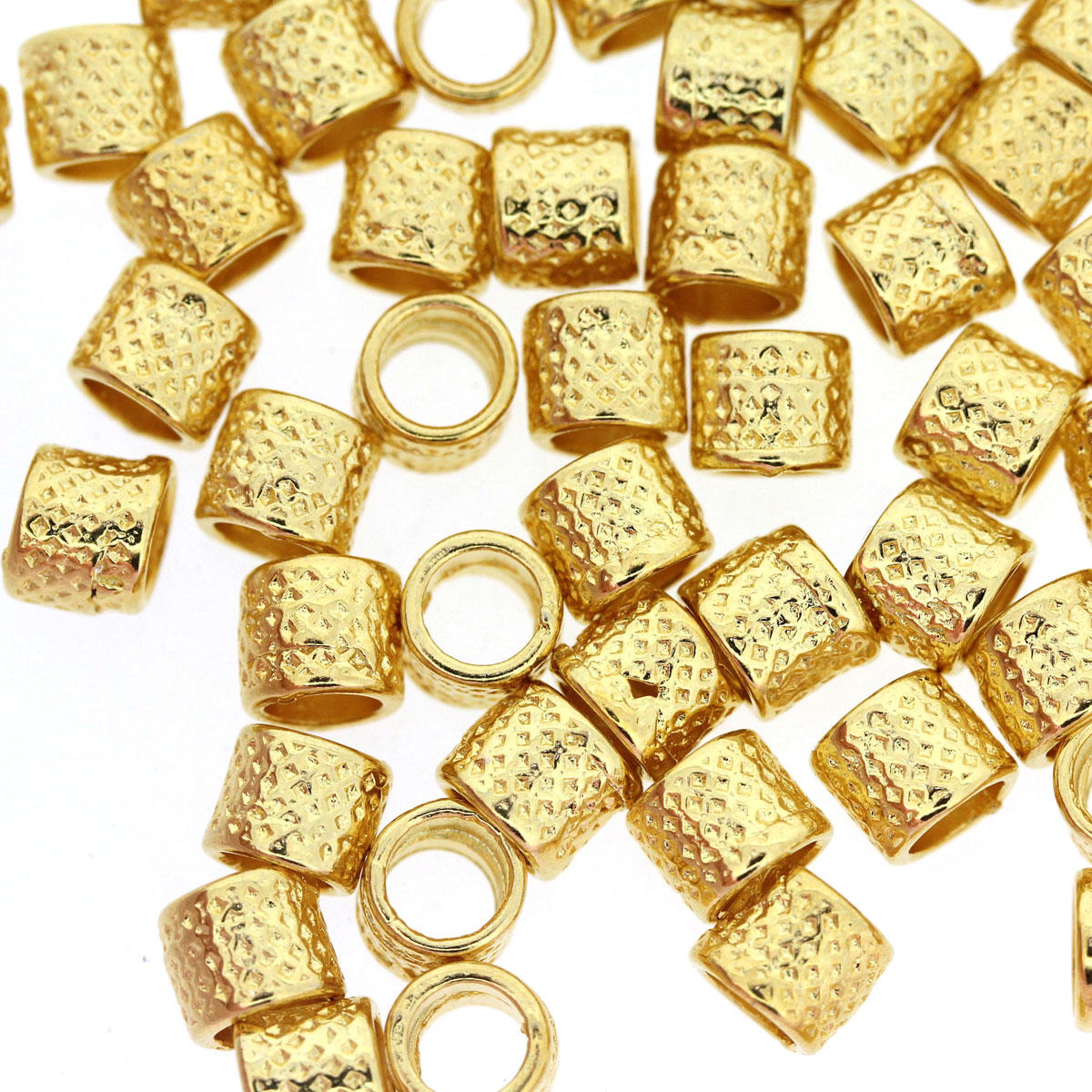 Gold Criss Cross Tube Spacer Bead