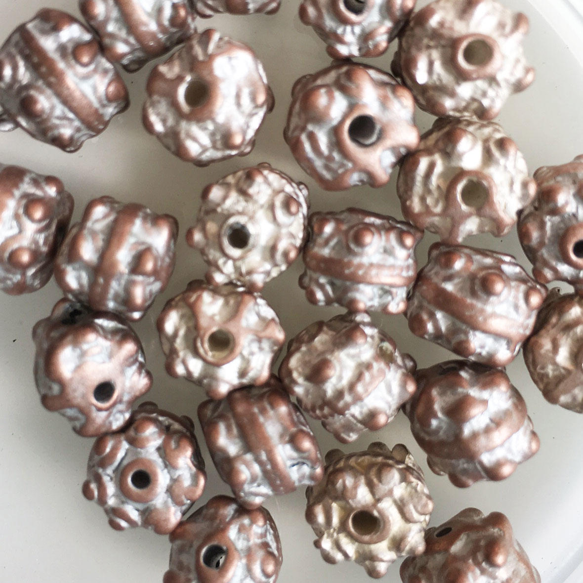 Silvered Copper Drum Shaped Metal Beads