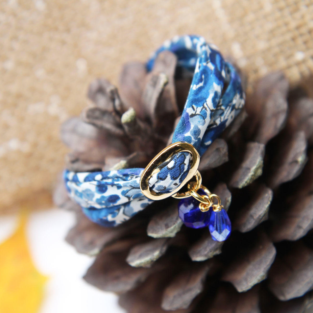 Liberty Blue Ribbon Bracelet with Blue Beads