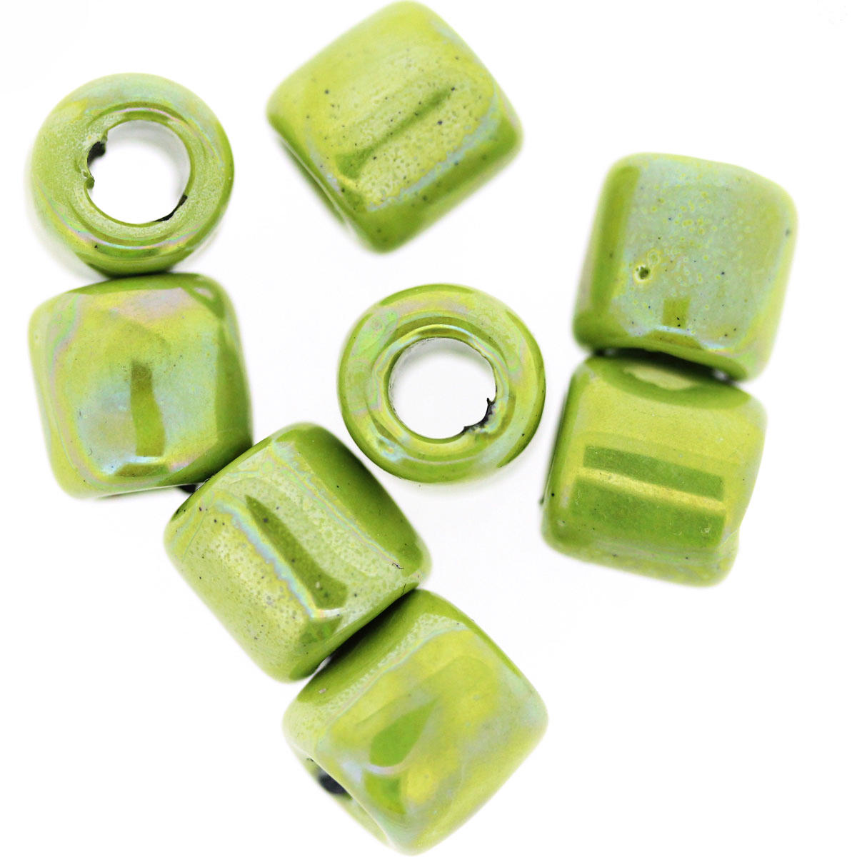 Lime Green Ceramic Tube Beads
