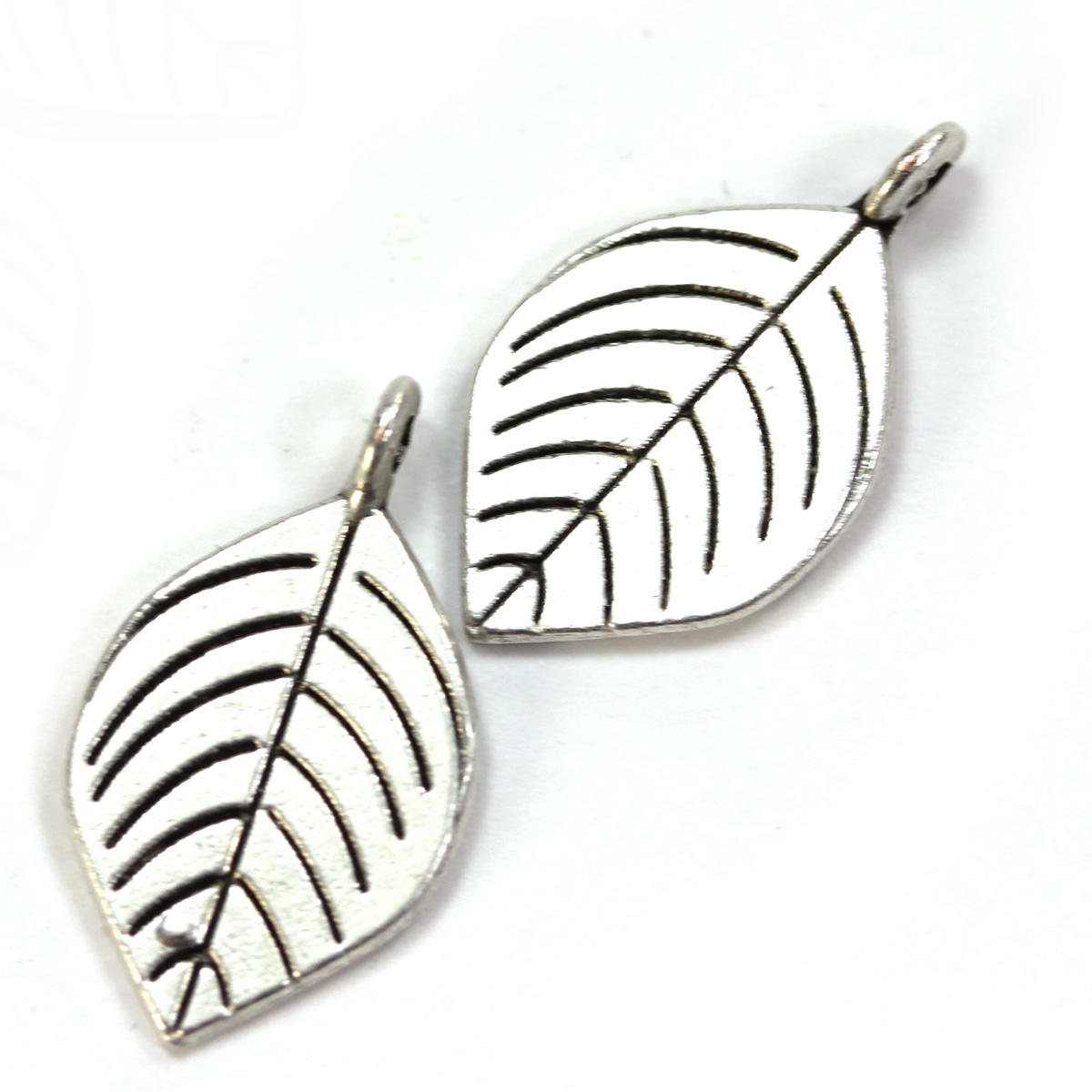 Silver Veined Leaf with Ring Charm