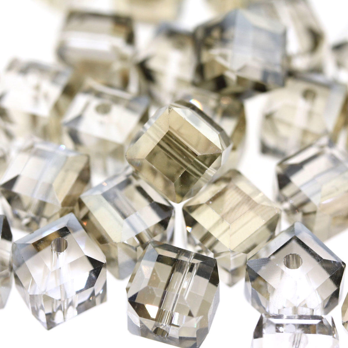 Smokey Faceted electroplated Cube 9mm Bead