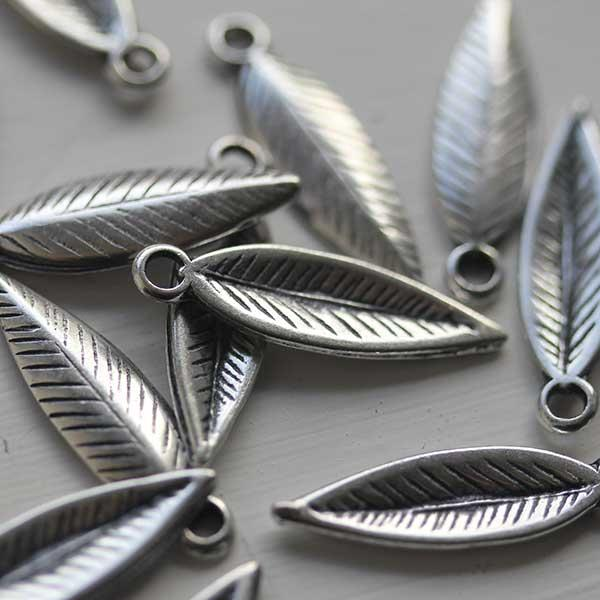 Long Antique Silver Leaf Charm