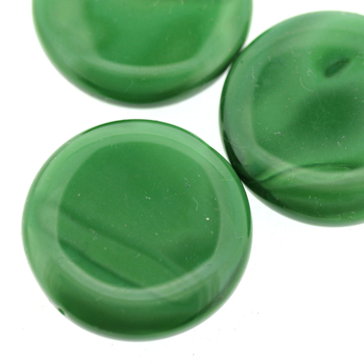 Emerald Green Glass Disc Bead - Code 29/09