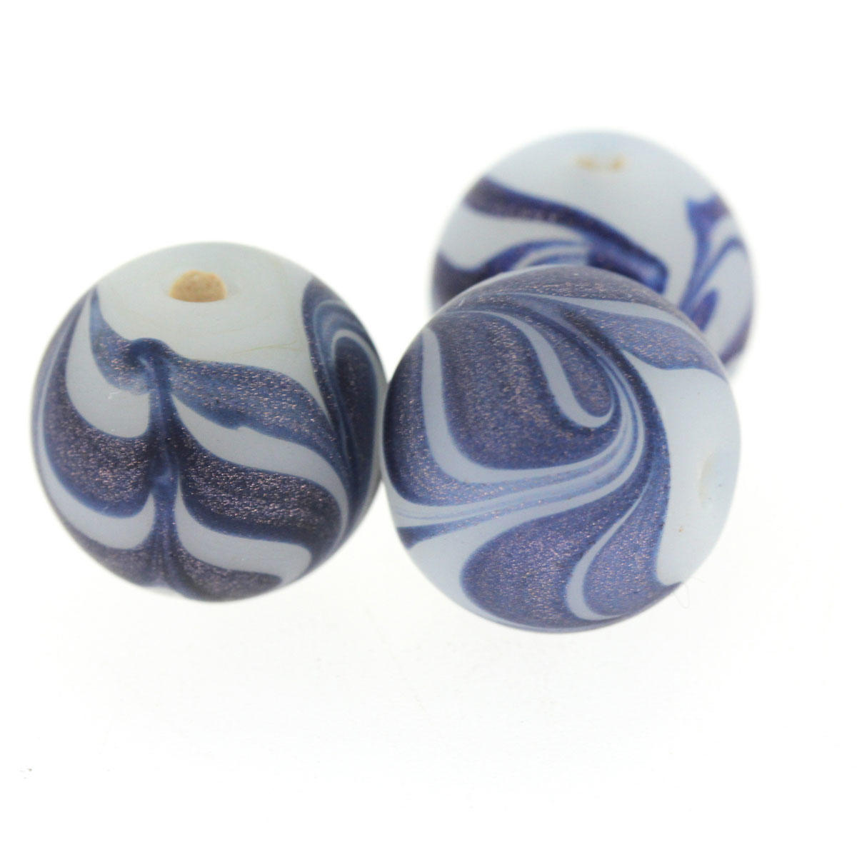 Blue & White Round Glass Bead
