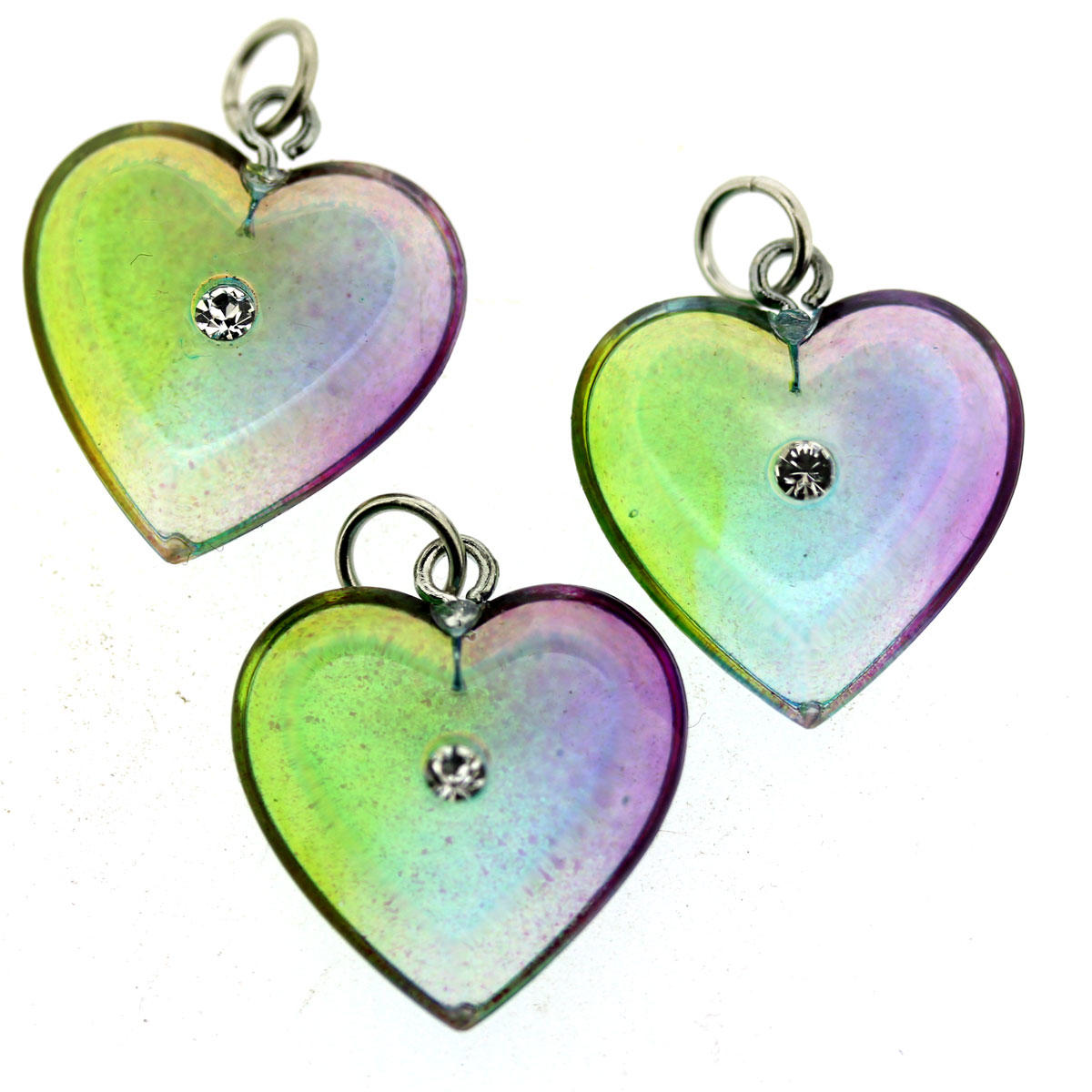 Rainbow Heart Pendant With Crystal