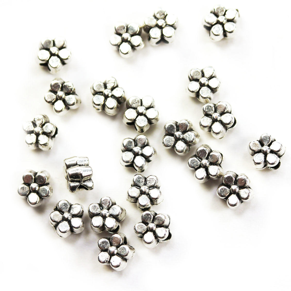 Silver Tiny Flower Metal Bead