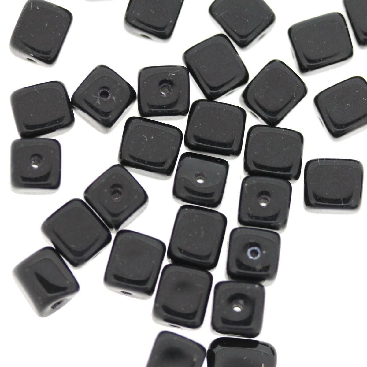 Black Glass Cube Beads