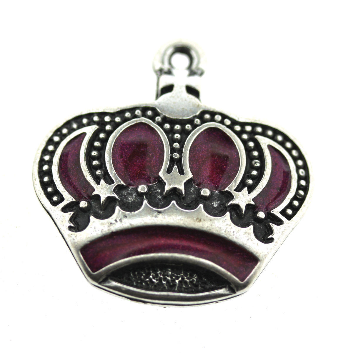 Purple Enamelled Crown Charm