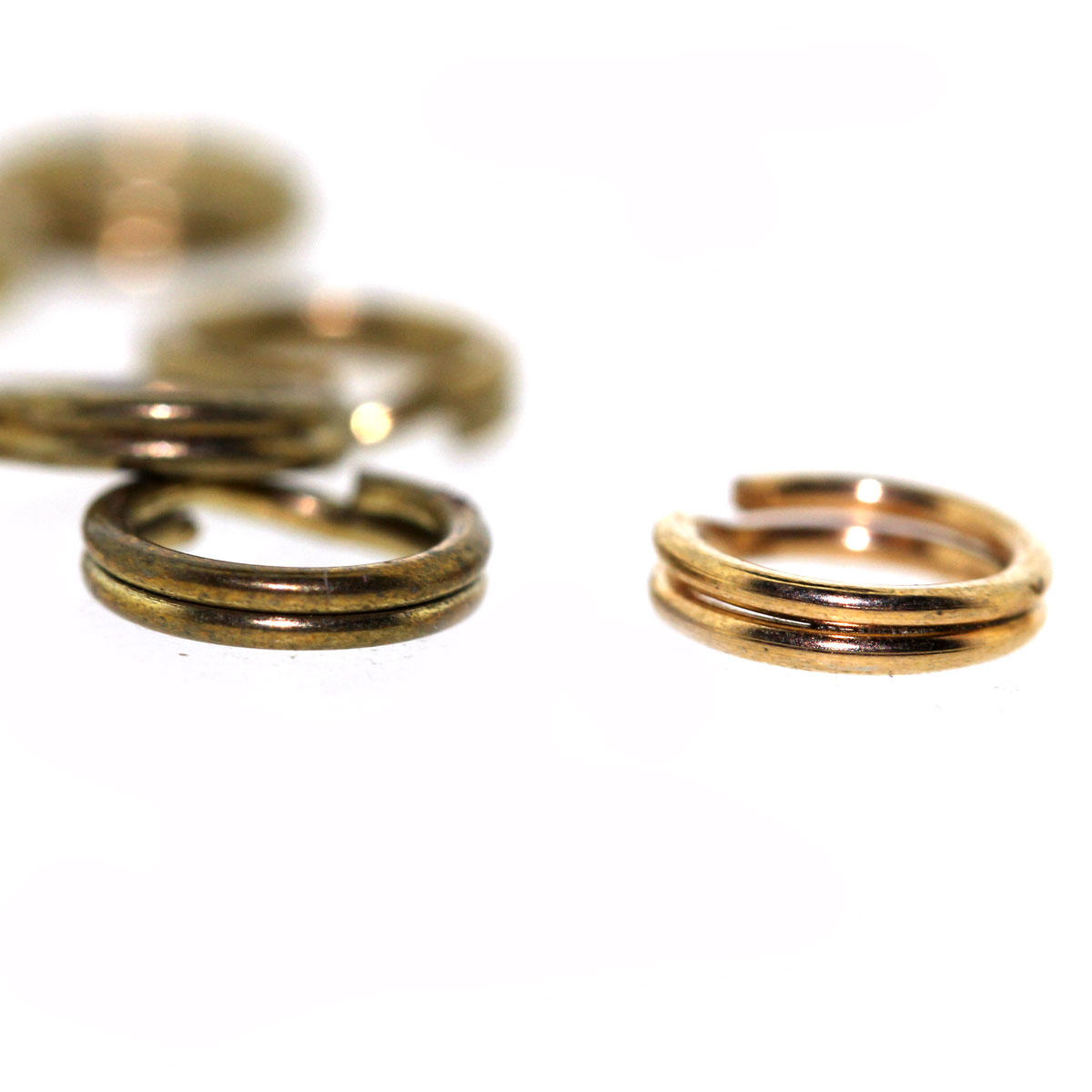 Antique Gold or Brass Split Rings