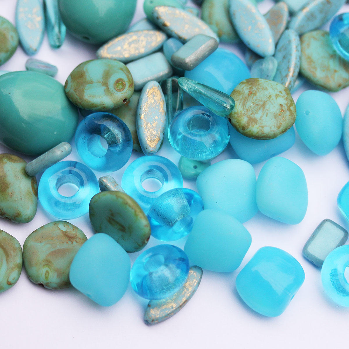 Aqua Czech Glass Quality Bead Mix