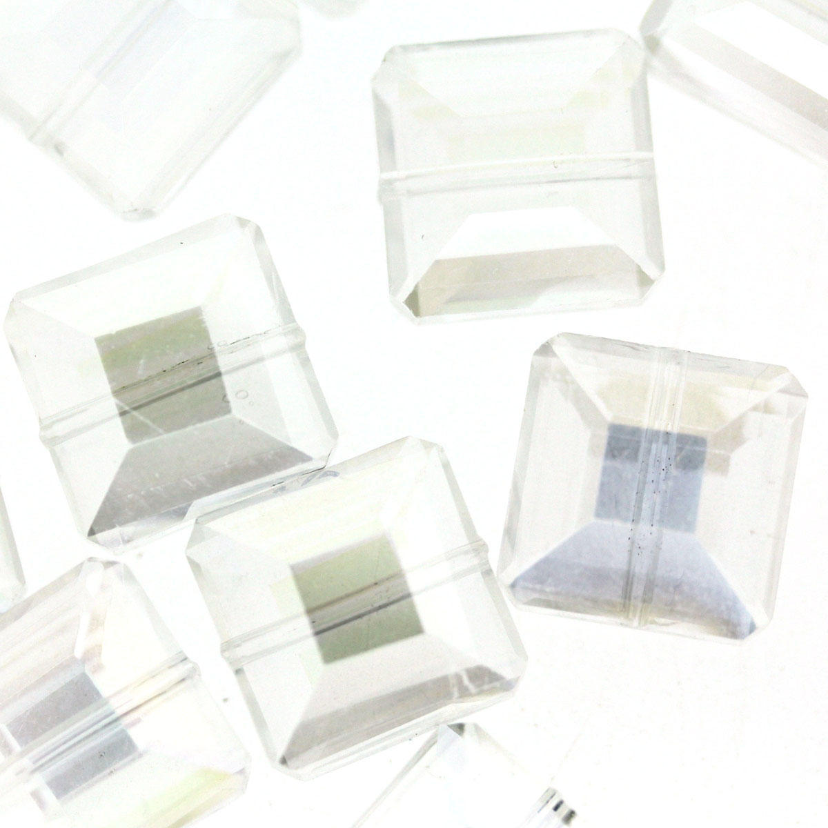 Clear AB Faceted Glass Square Beads