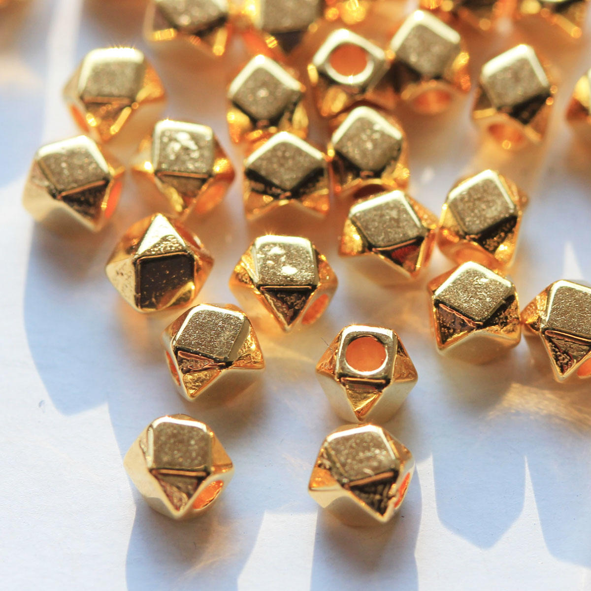 Gold Polygon Metal Beads