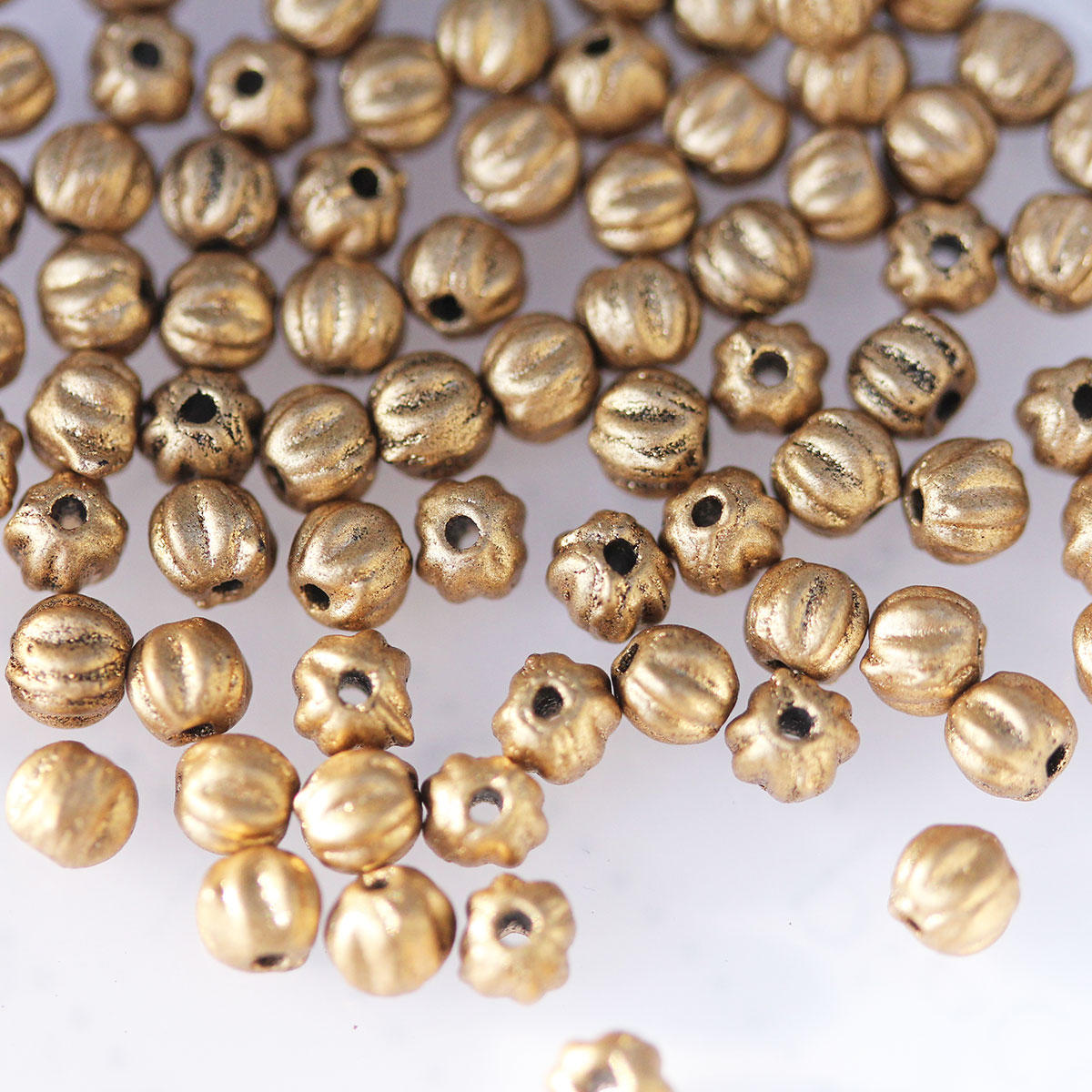 Gold Tiny 3mm Melon Glass Czech Beads