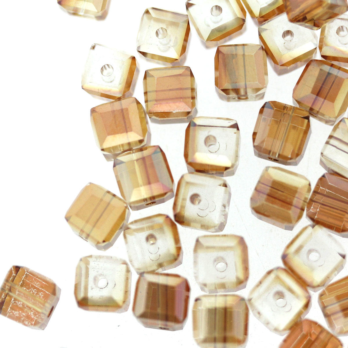 Russet 7mm Faceted Electroplated Glass Cube Bead