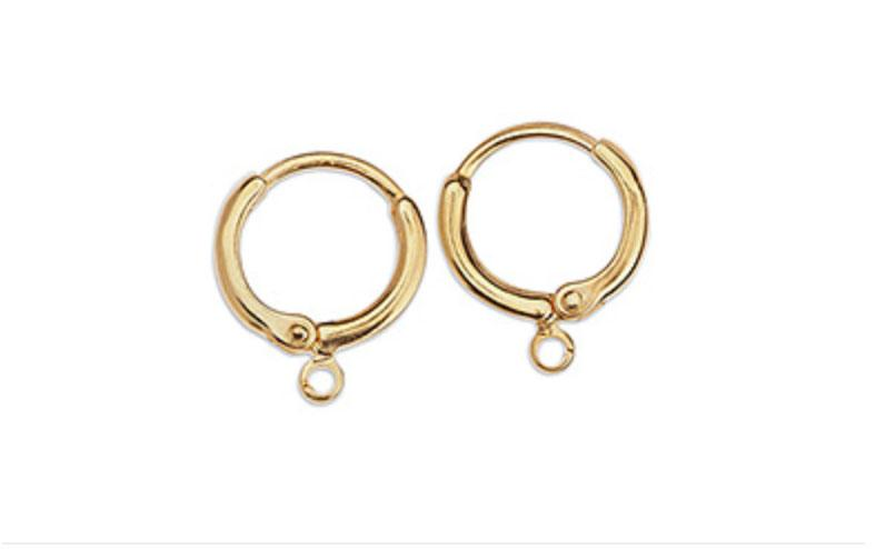 Gold Brass Round Ear Ring with Ring