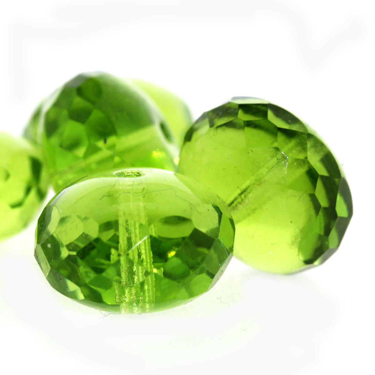 Lime Green Cushion Glass Beads - Code 52/10