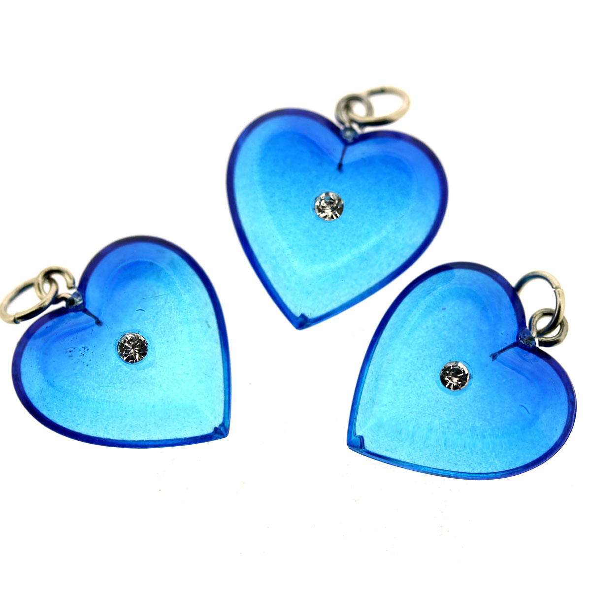 Azure Blue Crystal Heart Pendant