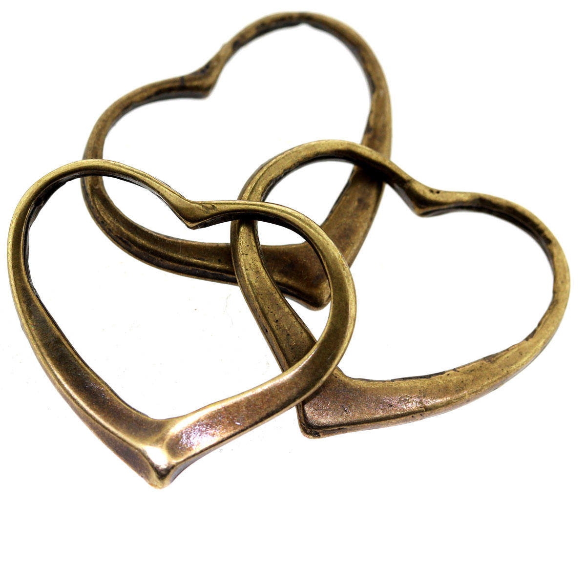 Antique Gold Sideways Heart Charm
