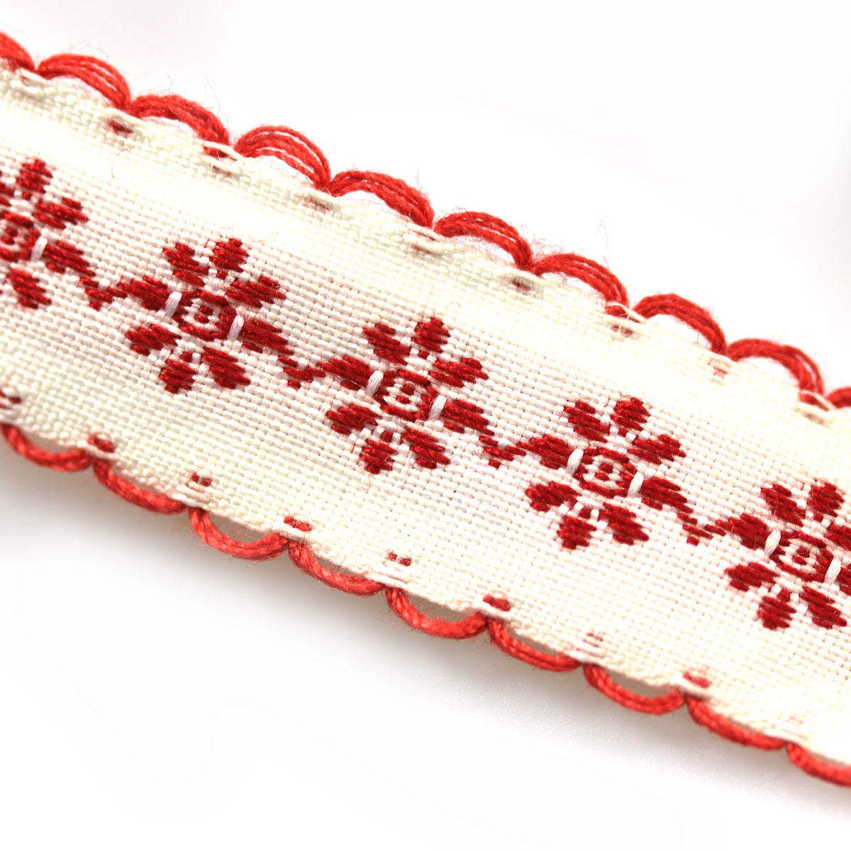Red Daisy Chain Scallop Ribbon