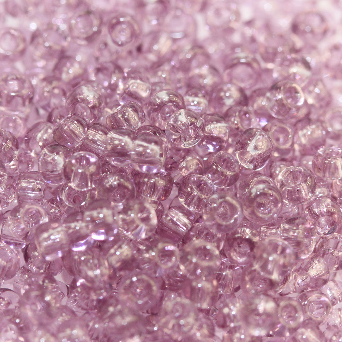 Transparent Frosted Sugar Plum Seed Bead Tube