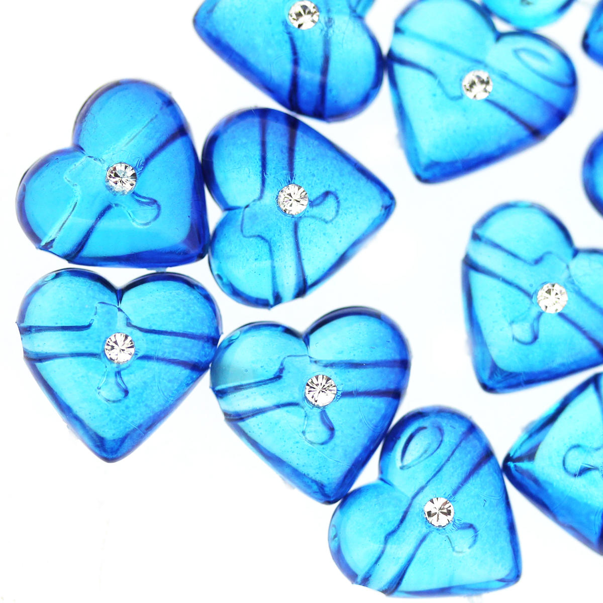 Azure Bicolour Heart with Crystal Bead