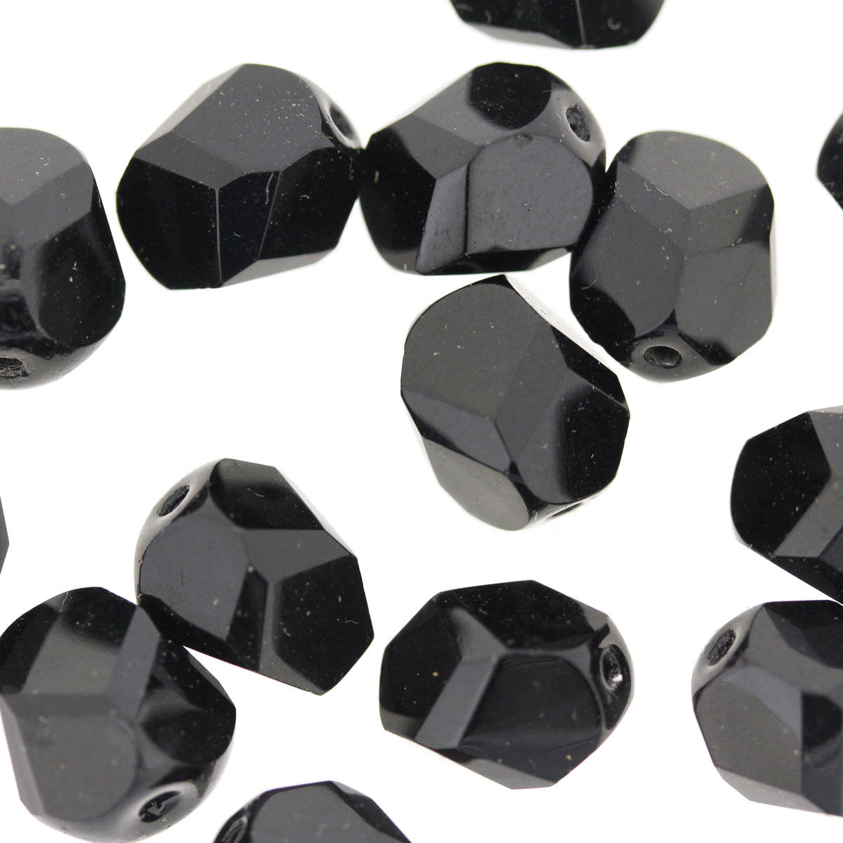 Black 10mm Faceted Czech Glass Fire Polished Bead