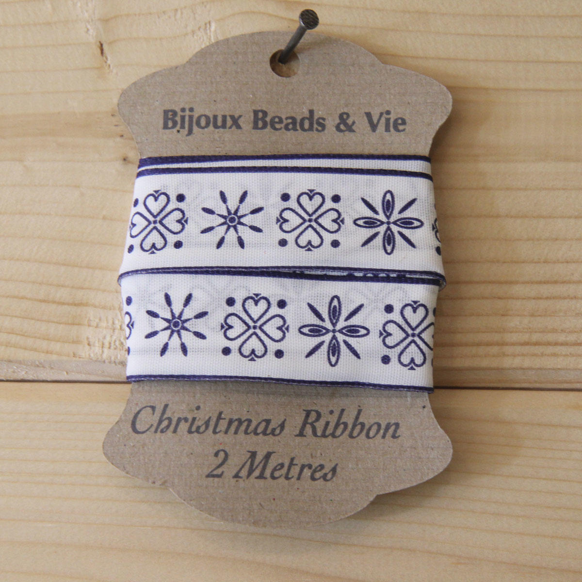 Blue Wired Folk Christmas Ribbon