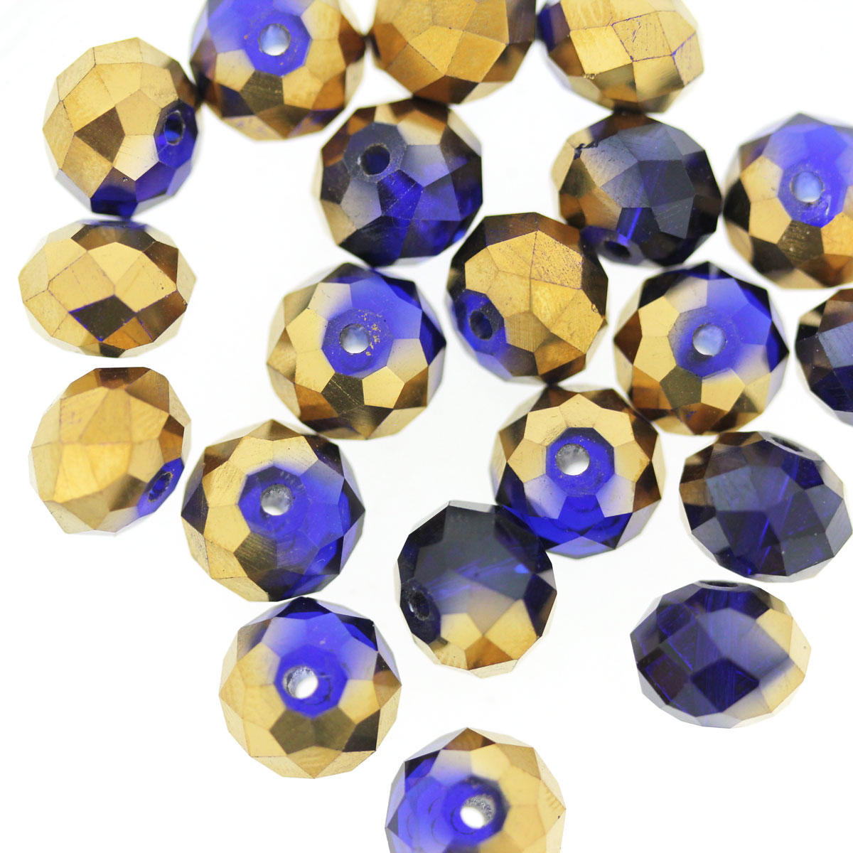 Cobalt Blue & Bronze Coated Glass Cushion Beads
