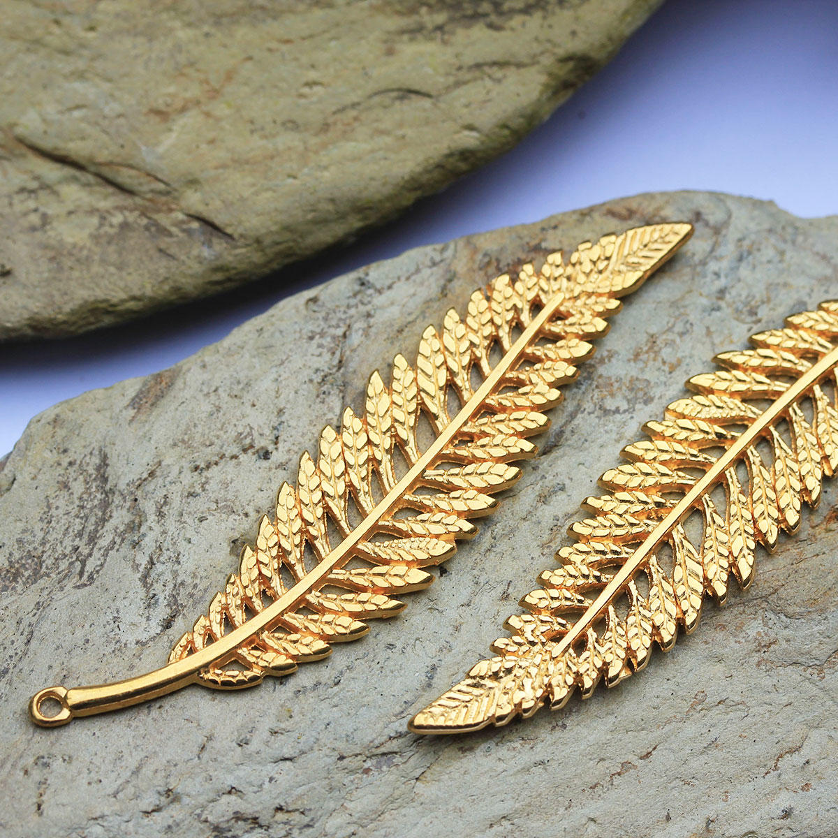 Gold Long Fern Leaf Charm