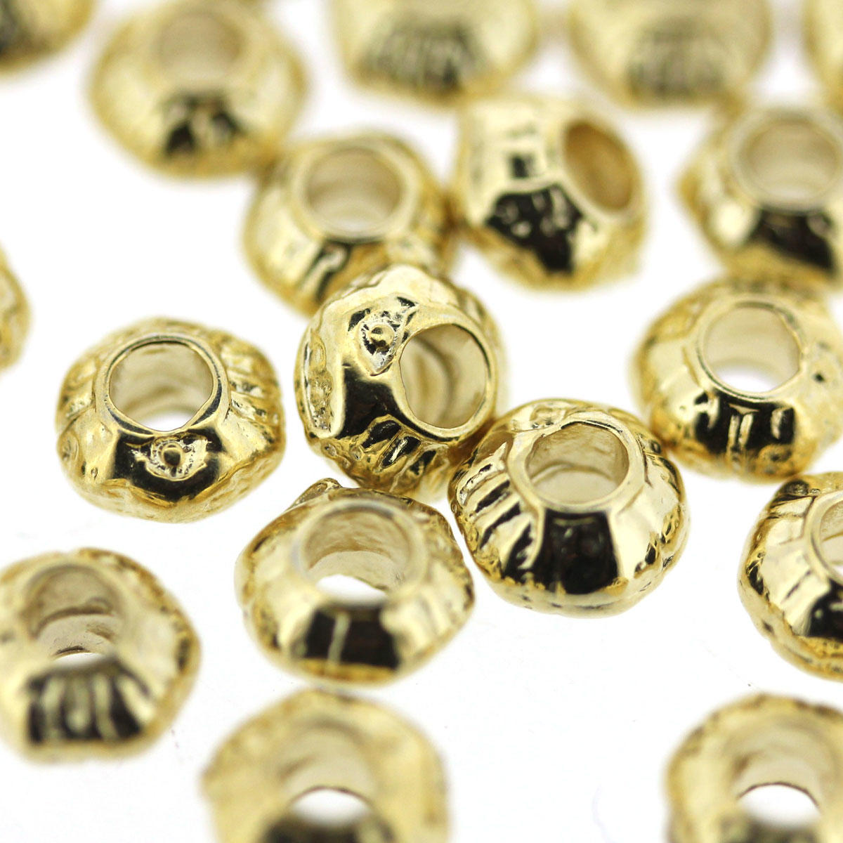 Gold Patterned Cushion Bead size 6/4mm