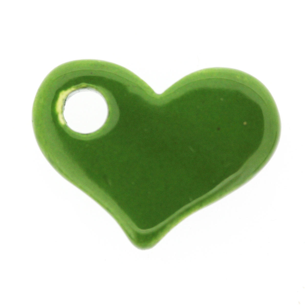 Green Oak Side-ways Ceramic Heart Bead