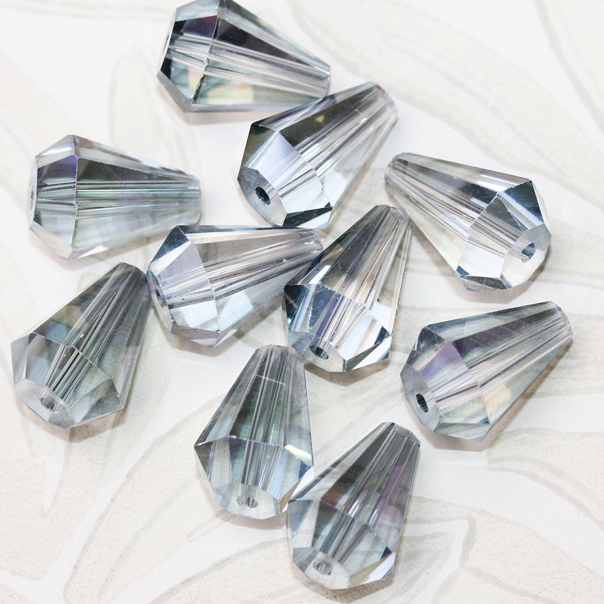 Grey AB Electroplated Glass Drop Bead