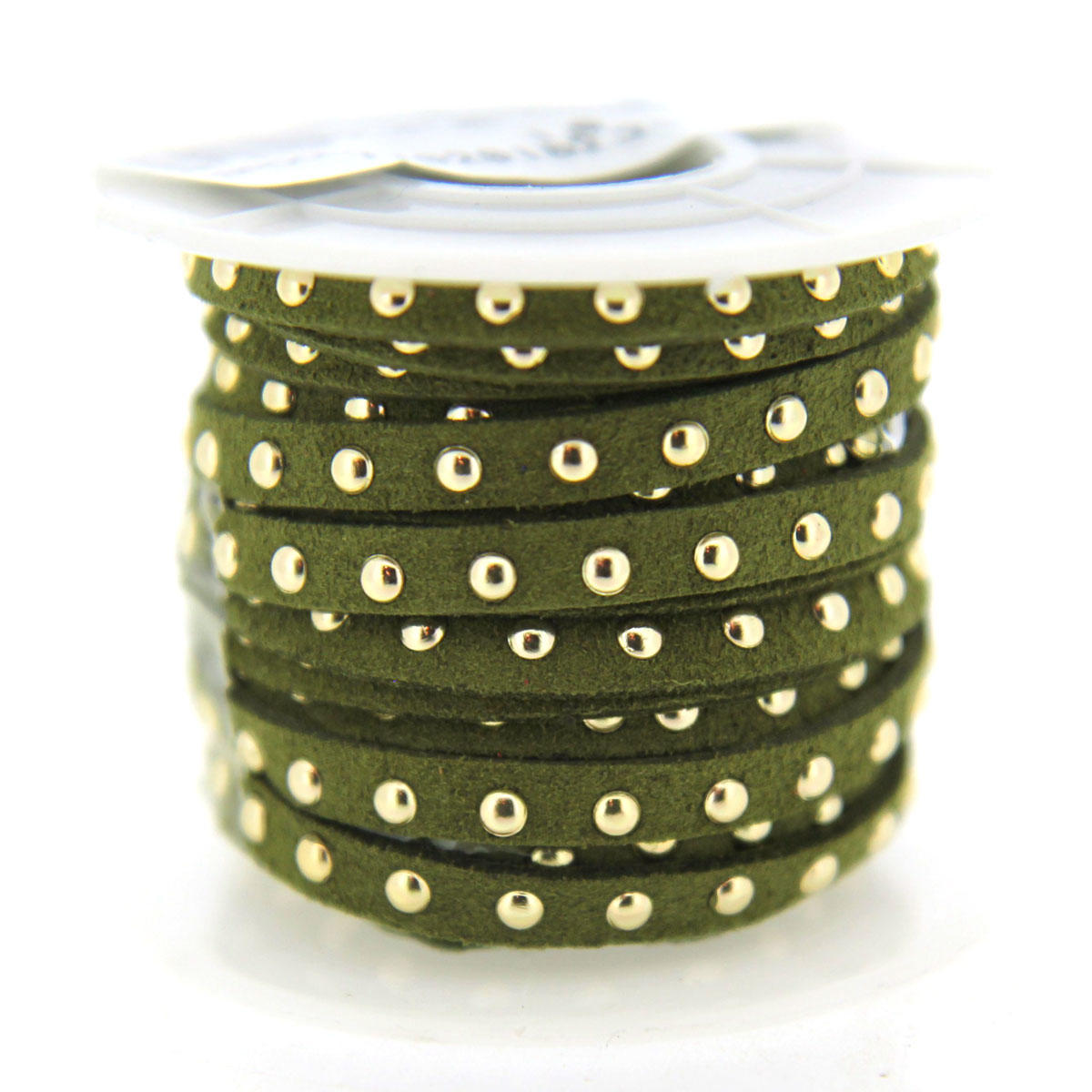 Olive 5mm Faux with Gold Rivets