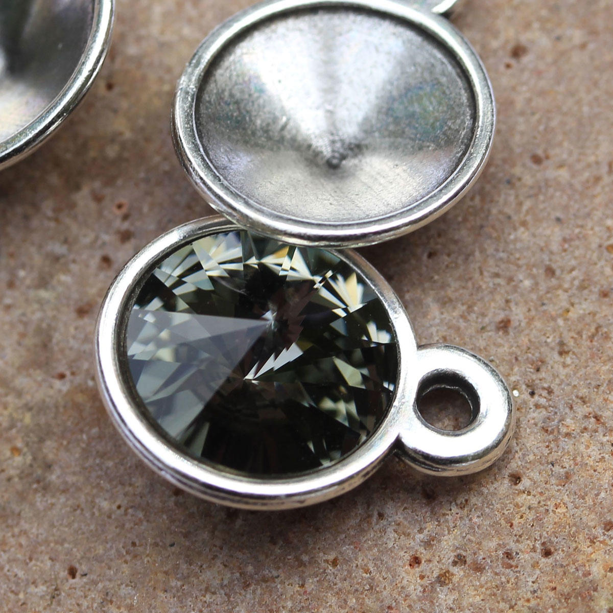 Silver Pendant for 12mm Rivoli Swarovski Crystals