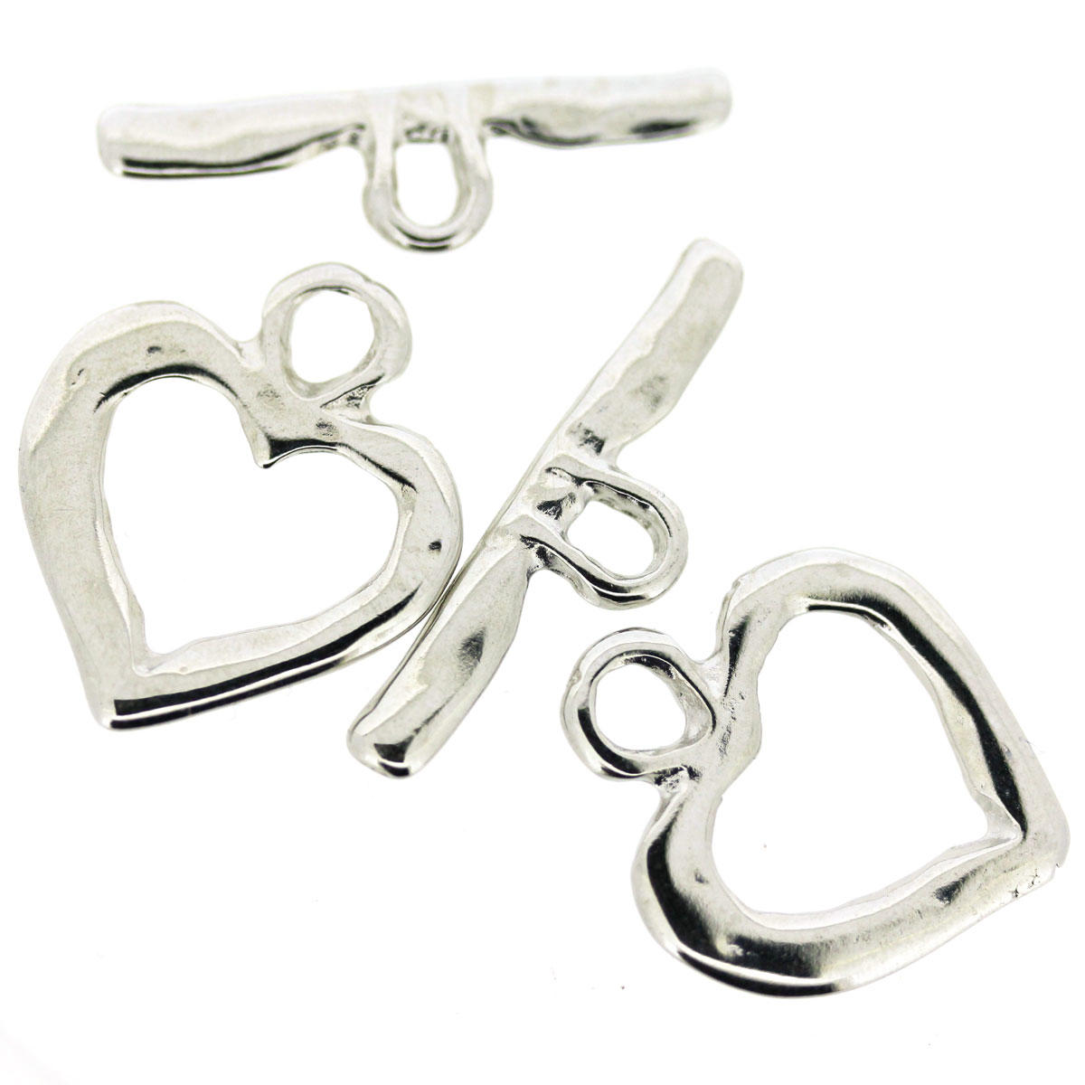 Silver Shiny Heart Toggle Clasp