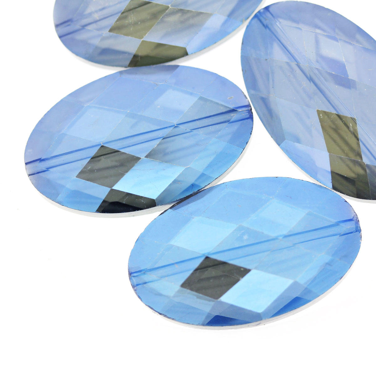 Steel Blue Large Faceted Glass Oval Beads